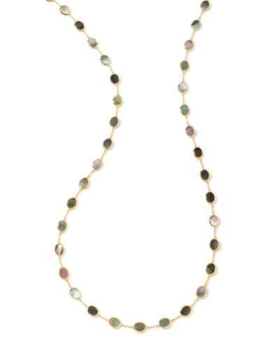 Polished Rock Candy Confetti Station Necklace in Black Shell, 36
