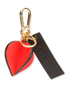 Leather Heart Charm with Logo, Red/Black