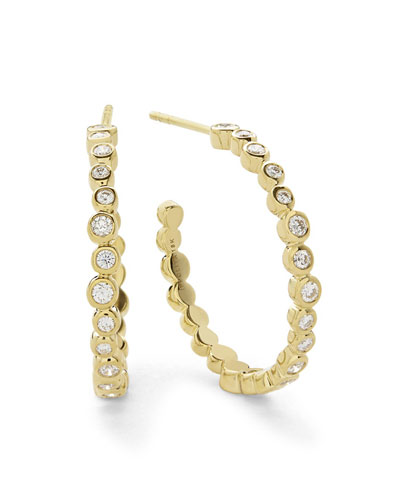 Stardust Medium Hoop Earrings in 18K Gold with Diamonds