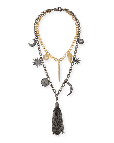 Barbara Chain Tassel Charm Necklace