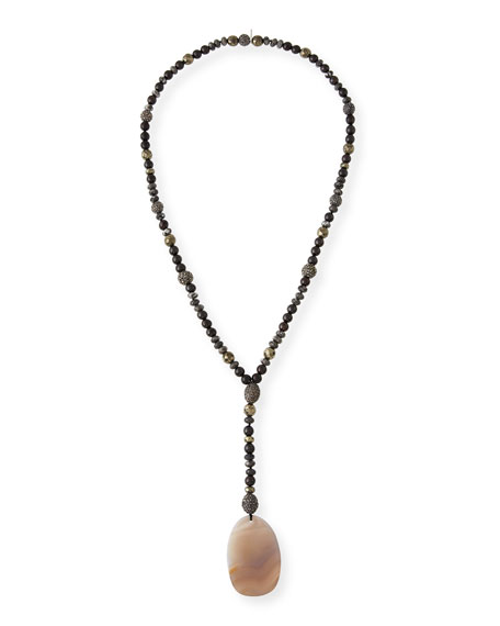 Hipchik Amber Sliced Agate Pendant Necklace