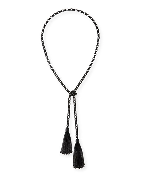 Hipchik Rolo Matte Beaded Chain Lariat Necklace