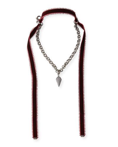Alexa Crystal Pendant Necklace with Velvet Ties