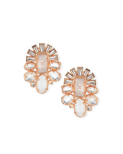 Huckaby Crystal Statement Earrings in Rose-Tone Plate