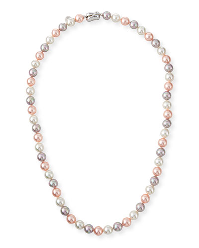 8mm White & Pink Simulated Pearl Necklace, 18