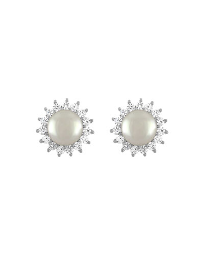 Simulated Pearl Crystal-Halo Earrings