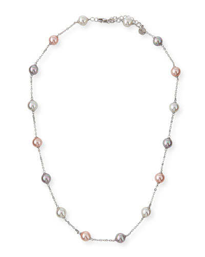 8mm White & Pink Simulated Pearl Station Necklace, 20