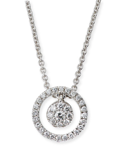 Tiny Treasures Diamond Halo Circle Pendant Necklace