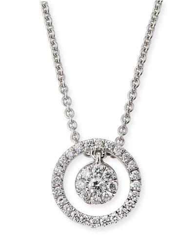 Tiny Treasures Diamond Halo Circle Pendant Necklace