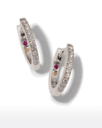 Mini Micro Diamond Hoop Earrings in 18K White Gold