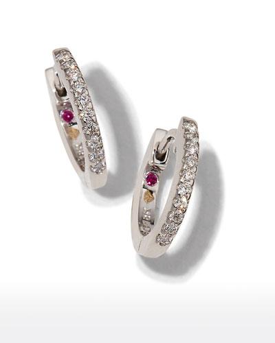 Mini Micro Diamond Hoop Earrings in 18K White Gold