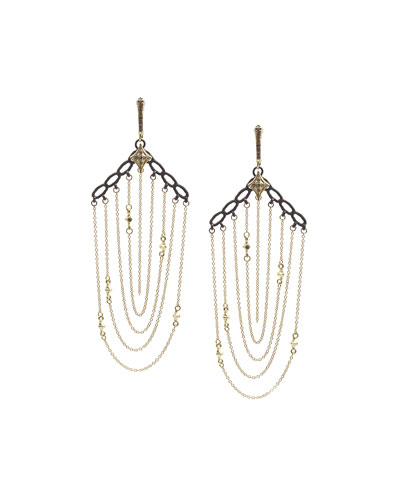 Old World Chain Earrings with Diamonds