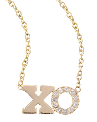 14k Pave Diamond XO Pendant Necklace