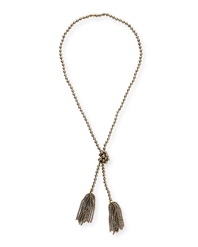 Beaded Pyrite Lariat Necklace