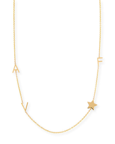 Personalized Mini Three-Letter & Star Pendant Necklace