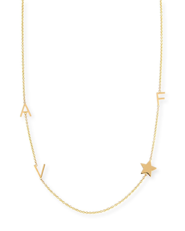 Personalized Mini Three-Letter & Star Pendant Necklace
