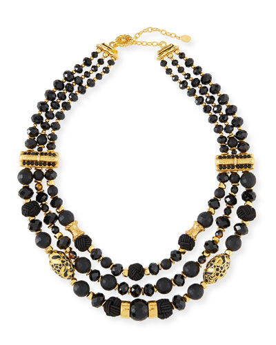 Black Passementerie Beaded Necklace