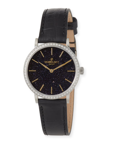 The Agnes 32mm Sandstone Watch with Diamonds & Black Alligator Strap
