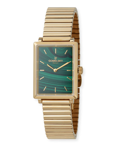 The Shirley Fromer 32mm Malachite Watch with Bracelet Strap