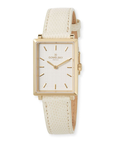 The Shirley Fromer 32mm Watch with Ivory Lizard Strap
