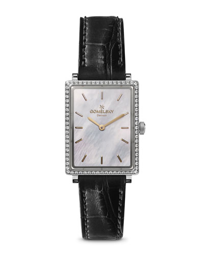 The Shirley 32mm Alligator Strap Watch with Diamonds