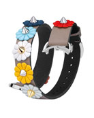 17mm Flower-Studded Leather Watch Strap