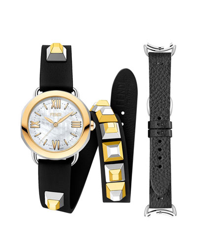 Mother-of-Pearl Watch Head with Studded Strap
