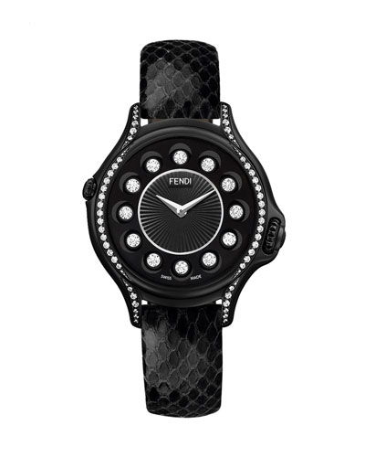 Crazy Carats Python Strap Watch with Diamond Bezel