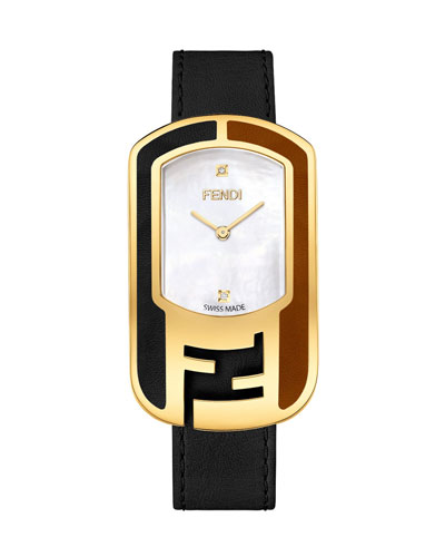 Fendi Leather Buckle Watch with Diamonds