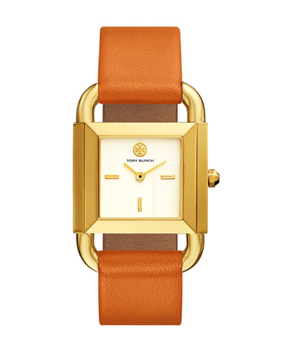The Phipps Leather Strap Watch, Golden/Orange