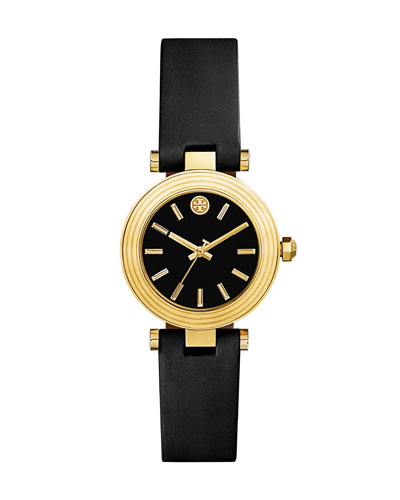 Classic T Leather Strap Watch, Black/Golden