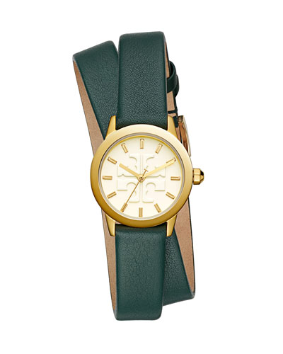 The Gigi Golden Watch with Green Leather Wrap Strap