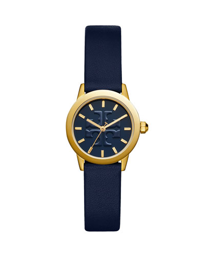 The Gigi Golden Watch with Navy Leather Strap