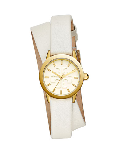 The Gigi Golden Watch with Ivory Leather Wrap Strap