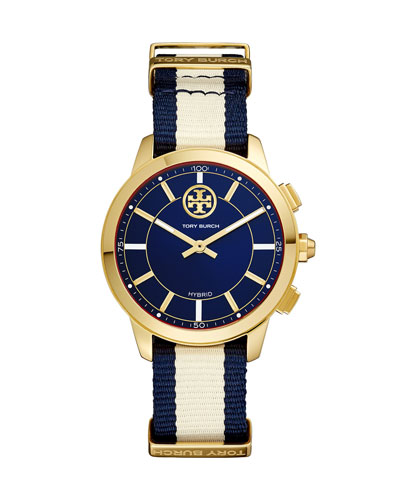 The ToryTrack Collins Smartwatch with Striped Strap, Blue/White