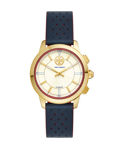 The Torytrack Collins Hybrid Smartwatch With Leather Strap, Gold