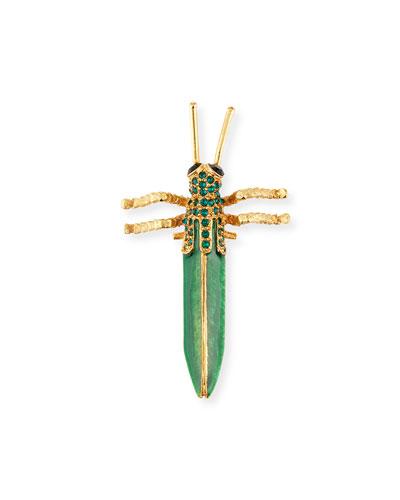 Crystal Grasshopper Brooch