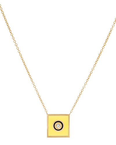 Code Flag Square Diamond Pendant Necklace - I