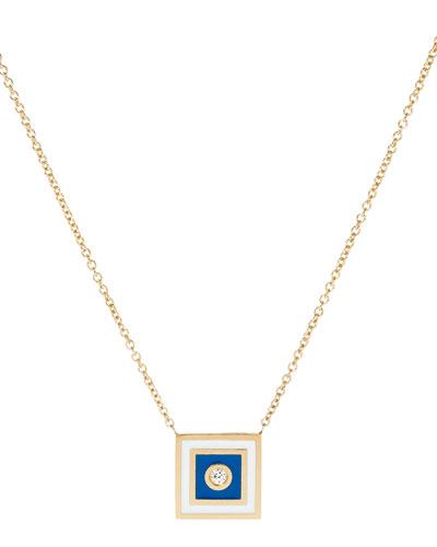 Code Flag Square Diamond Pendant Necklace - S