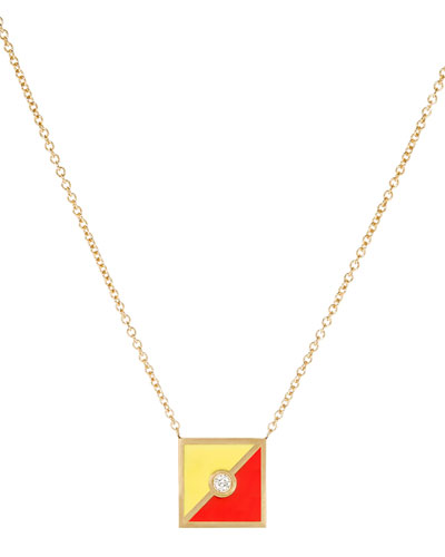 Code Flag Square Diamond Pendant Necklace - O