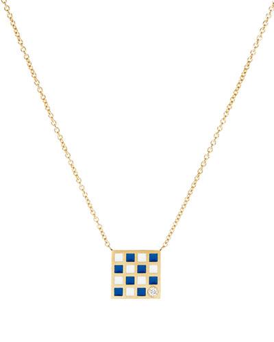 Code Flag Square Diamond Pendant Necklace - N