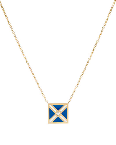 Code Flag Square Diamond Pendant Necklace - M