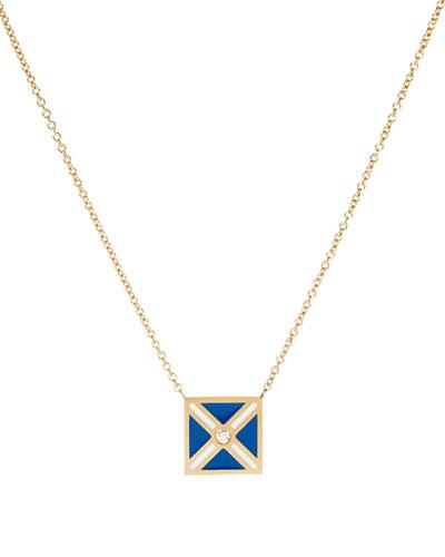 Code Flag Square Diamond Pendant Necklace - M