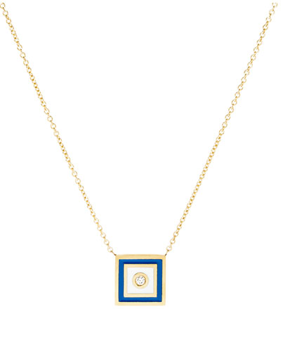 Code Flag Square Diamond Pendant Necklace - P