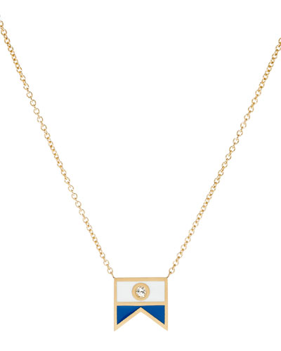 Code Flag Diamond Pendant Necklace - A