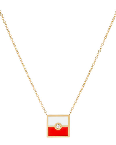 Code Flag Square Diamond Pendant Necklace - H