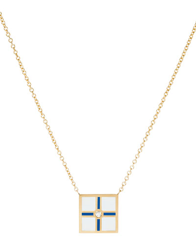 Code Flag Square Diamond Pendant Necklace - X