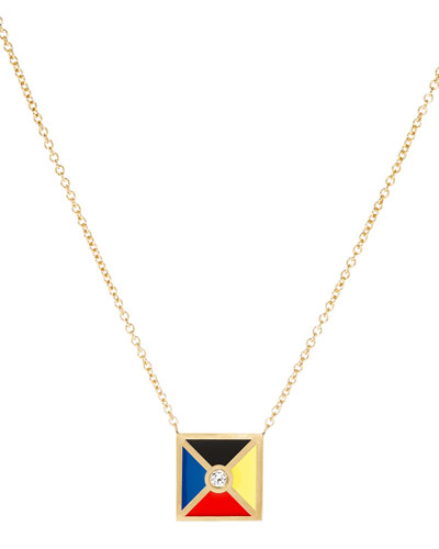 Code Flag Square Diamond Pendant Necklace - Z
