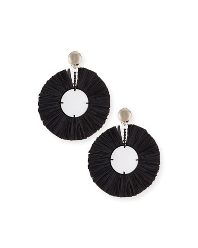 Large Raffia Fringe Clip-On Earrings in Black