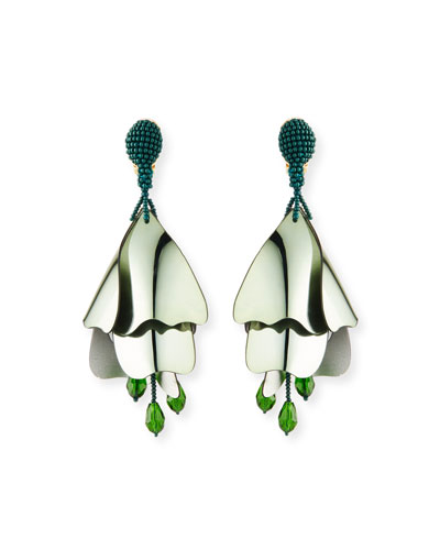 Large Iridescent Impatiens Clip-On Earrings, Green